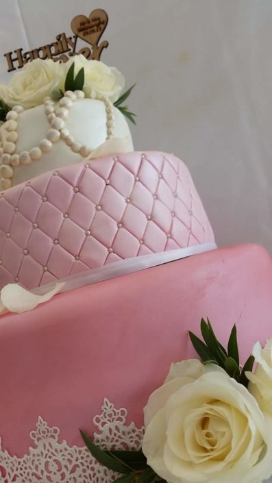 pink quilted wedding cake - Quality Cake Company Tamworth
