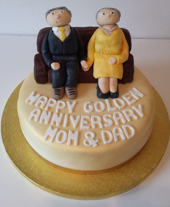Golden Wedding anniversary cake - Quality Cake Company Tamworth