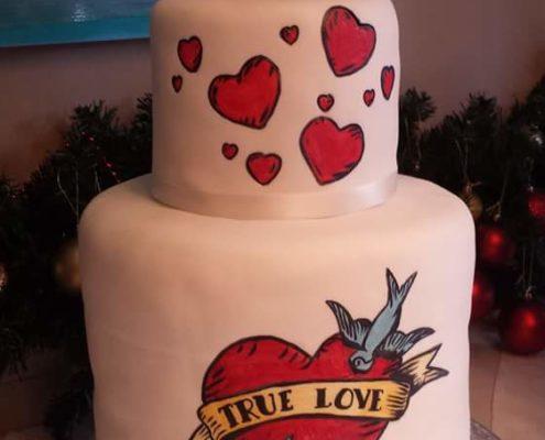 Heart tattoo modern wedding cake design - Quality Cake Company Tamworth