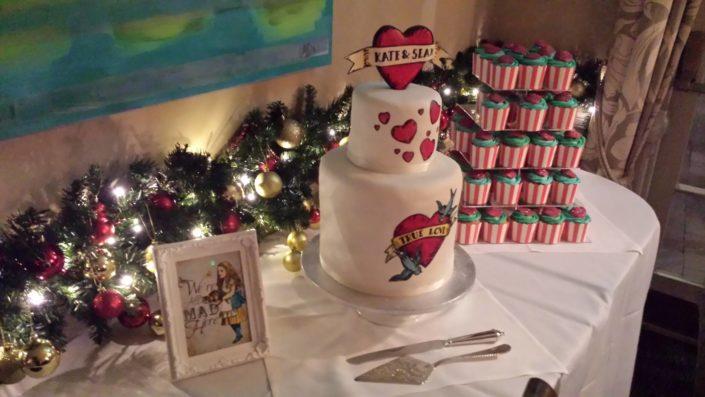 The heat tattoo wedding cake centre-piece cake in situ - Quality Cake Company Tamworth