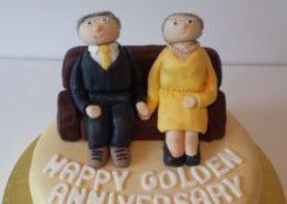 Golden Wedding couple topper - Quality Cake Company Tamworth