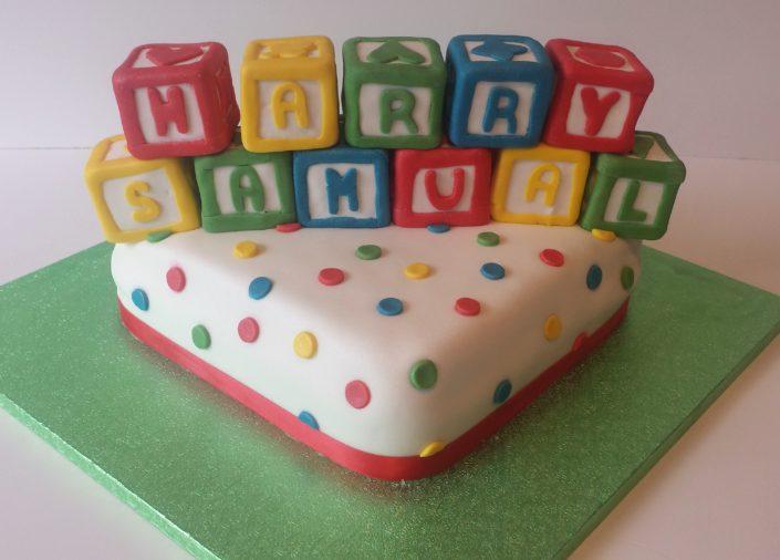 Toy building blocks celebration cake
