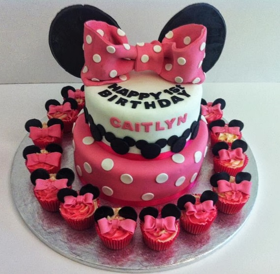 Minnie mouse ears bow pink birthday cake & cupcakes - - Quality Cake Company Tamworth