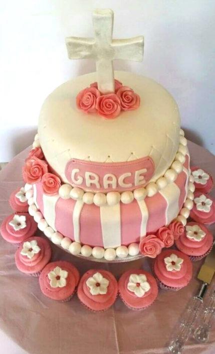 Pink and white christening cake modern - Quality Cake Company Tamworth
