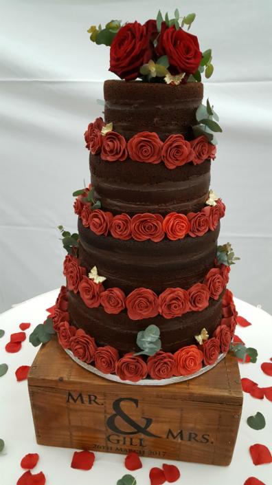 Four tier naked chocolate wedding cake - Quality Cake Company Tamworth