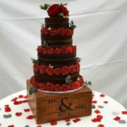 Nake chocolate wedding cake red roses - Quality Cake Company Tamworth