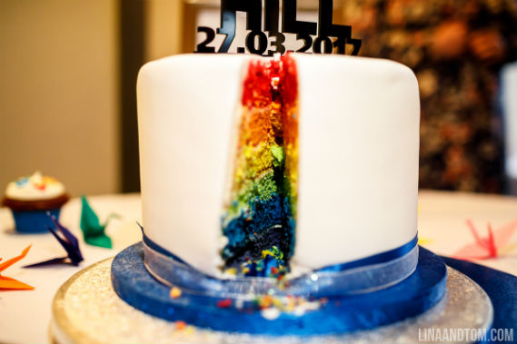 Star Wars rainbow reveal wedding cake - Quality Cake Company Tamworth