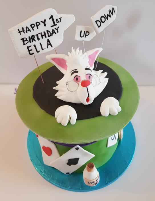 Mad hatter birthday cake white rabbit hat - Quality Cake Company Tamworth