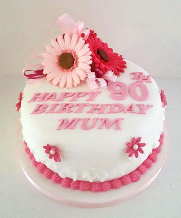 Floral pink 90th Birthday Cake - Quality Cake Company Tamworth