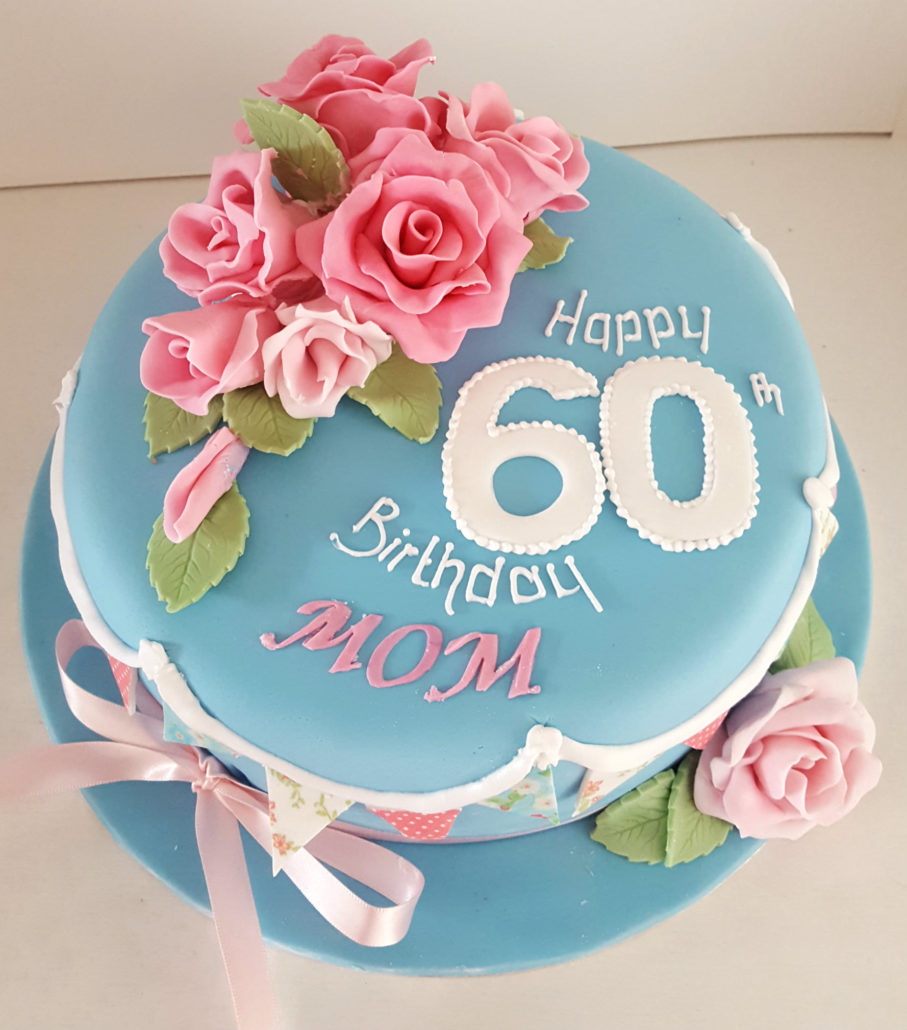 Pictures flower birthday cakes flowers healthy pink flowers on blue birthday cake izmirmasajfo