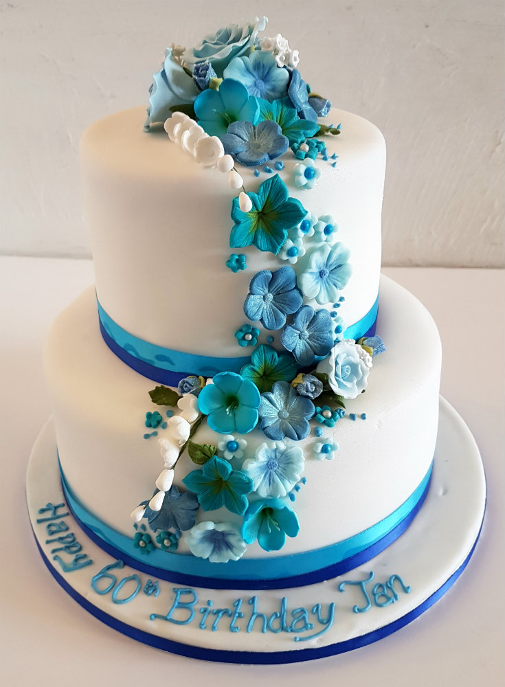 2 tier wedding cake with blue flowers two tier wedding cake with blue flowers 5000 simple 10180