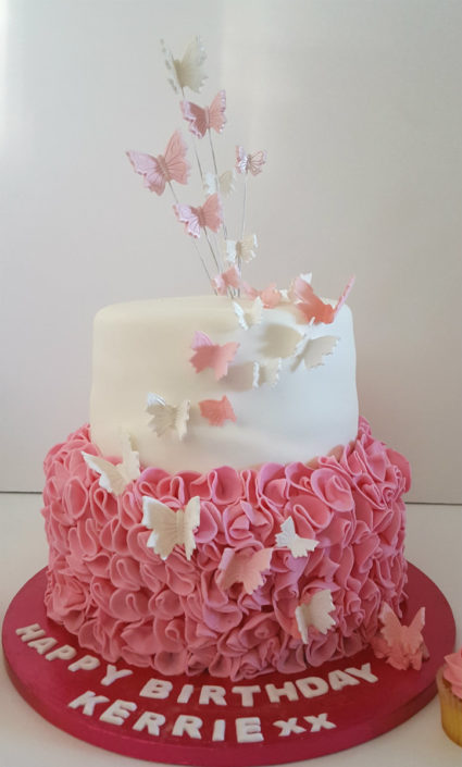 Two tier frill butterfly pink cake