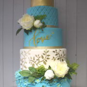 5 Tier Teal, White & Gold wedding cake
