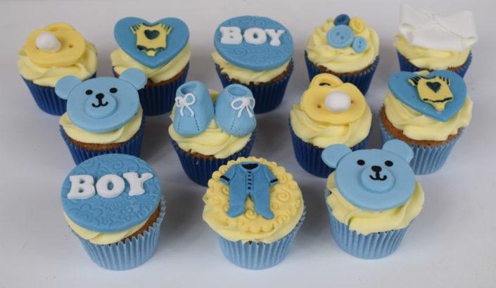 Baby boy new baby Christening cupcakes