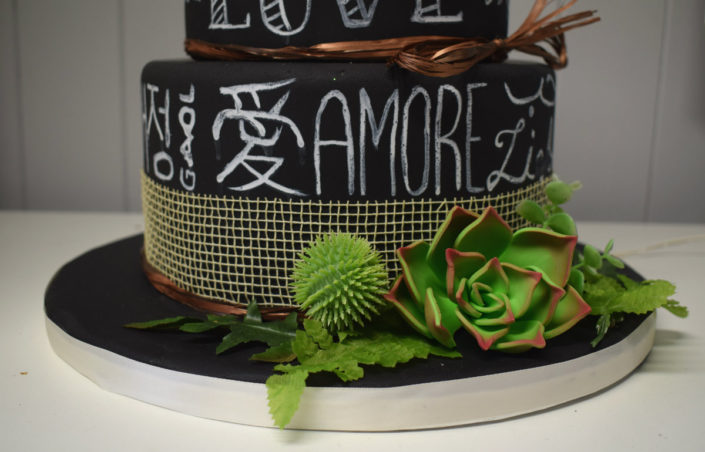Chalkboard Love wedding cake with succulent flowers