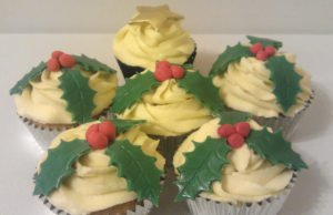 Holly decorated Christmas cupcakes Tamworth