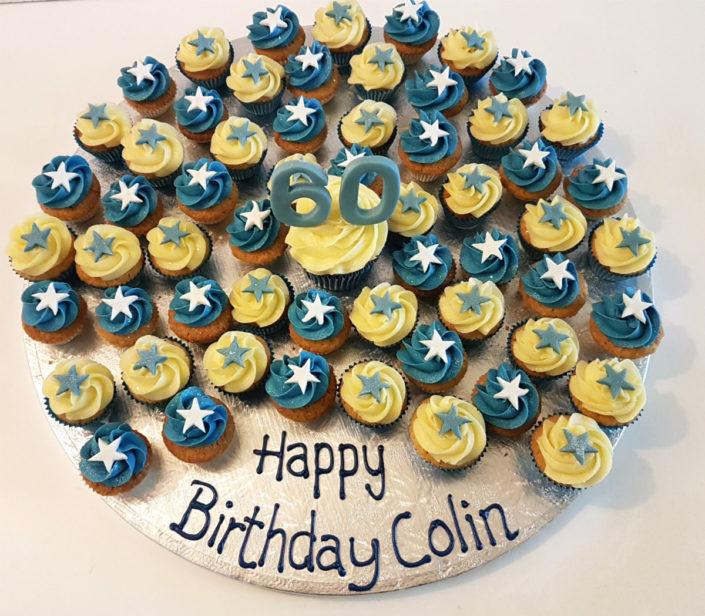 Mini blue & white cupcakes