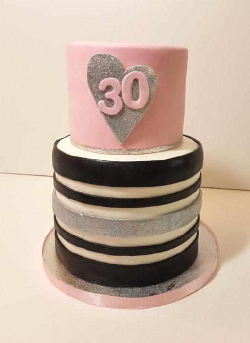 Pink, Black & White stripes birthday cake