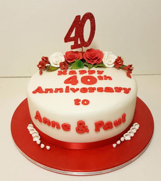 40th ruby anniversary celebration cake tamworth