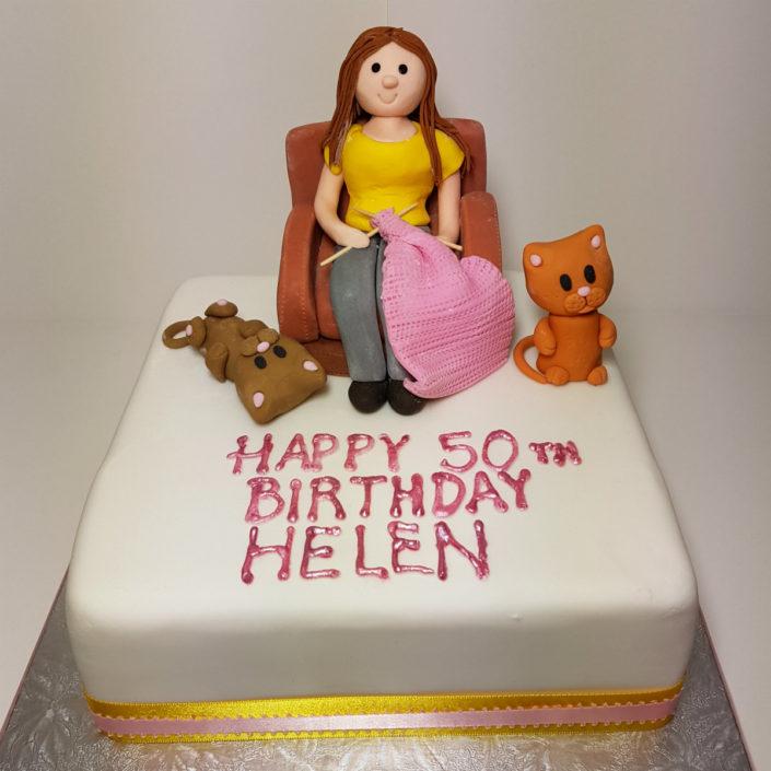 knitting lady birthday cake tamworth