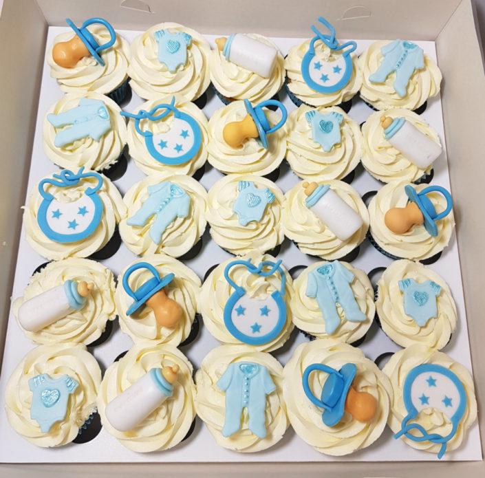 new baby boy christening cupcakes