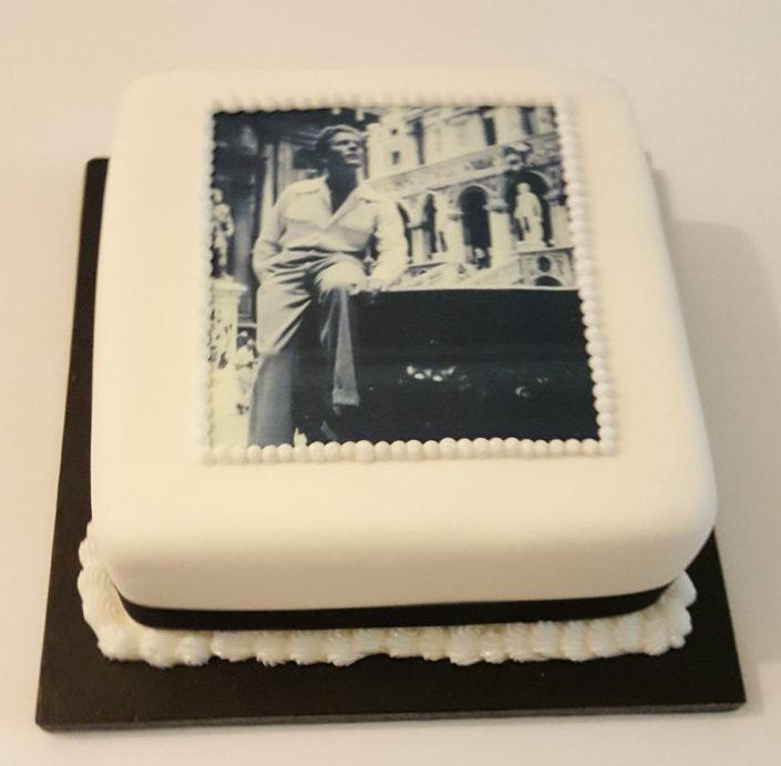 black and white photo cake