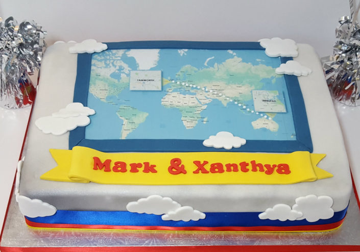 bn voyage travelling celebration cake