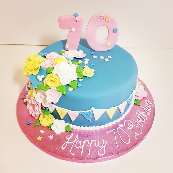 70th birthday floral cake tamworth