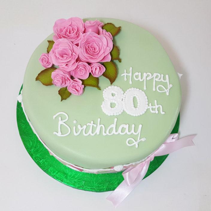 pink flower 80th birthday cake tamworth