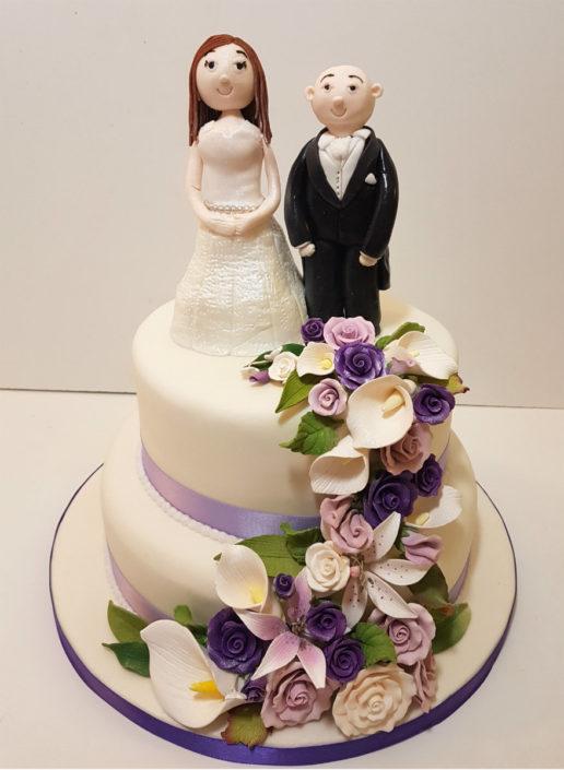 Purple white lillies two tier wedding cake Tamworth