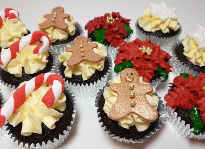 Christmas cupcakes gingerbread pointsettia candy cane - Tamworth