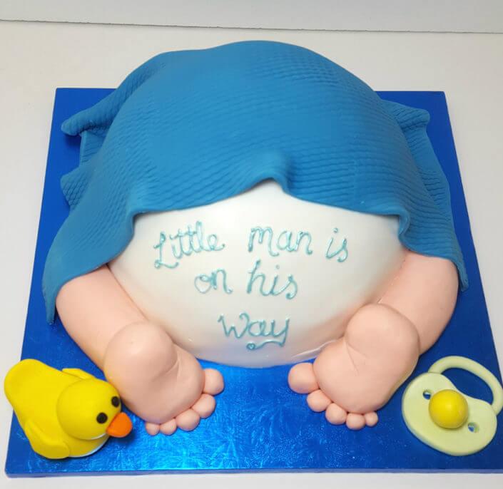Baby bum shower cake blue boy duck - tamworth