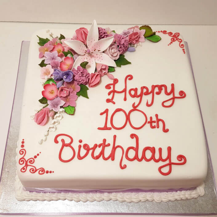 100th birthday simple flower spray cake - tamworth