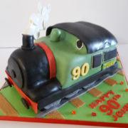 Sculpted train birthday cake