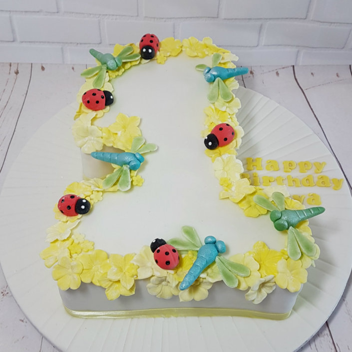 number 1 birthday cake with yellow flowers and ladybirds and dragonflies - tamworth