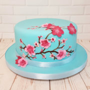 modern cherry blossom celebration cake - tamworth sutton coldfield