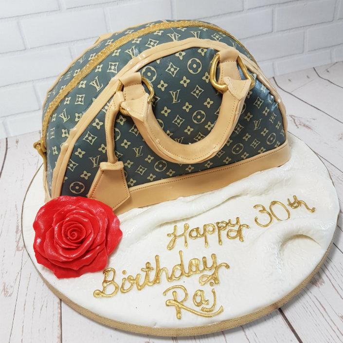 Handbag with red rose birthday cake - tamworth