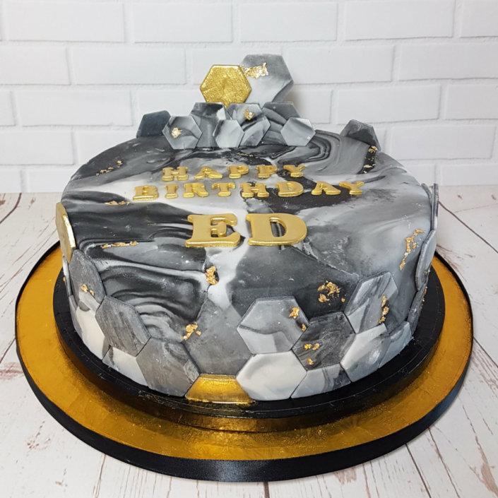 marbled hexagon gold birthday cake - tamworth sutton coldfield