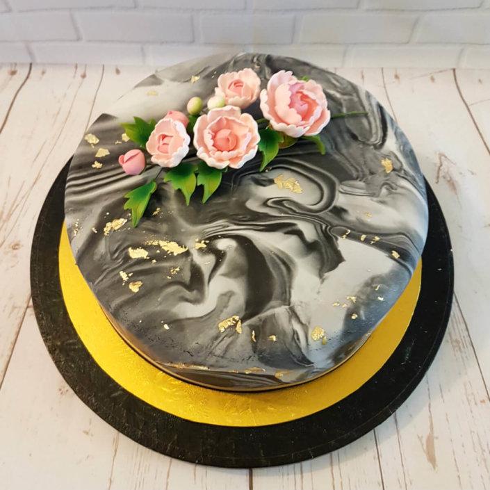 Marble and pink peony celebration cake - tamworth
