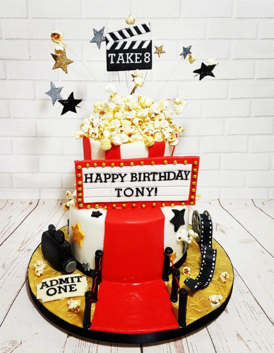 Movie film theme cake shutter popcorn red carpet - Tamworth Sutton Coldfield