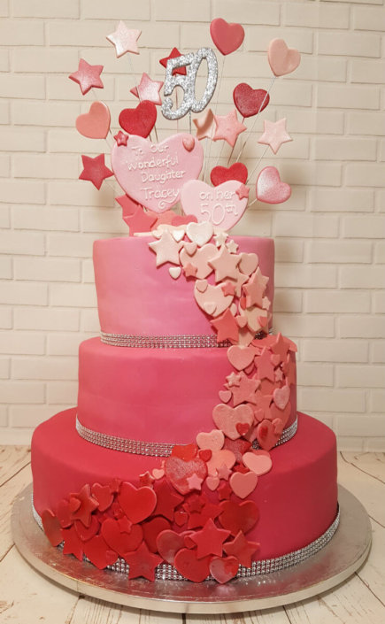 pink hearts and flowers 3 tier ombre birthday cake - Tamworth