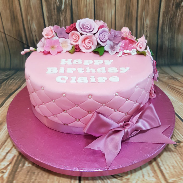 Birthday cakes quality cake company tamworth pink quilted flower birthday cake tamworth mightylinksfo