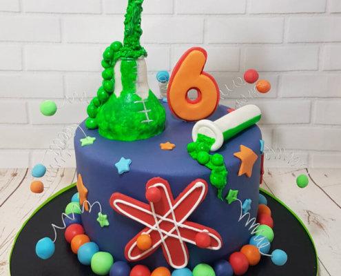 Science theme test tubes elements cake - tamworth