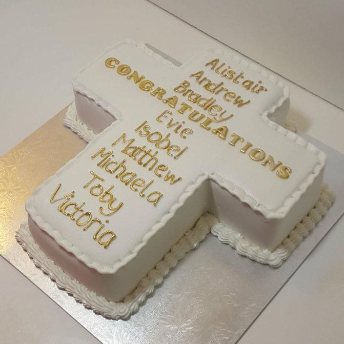Communion Baptism cross shaped cake - tamworth sutton coldfield
