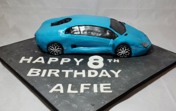 Lamborghini Lambo sculpted novelty cake - tamworth sutton coldfield