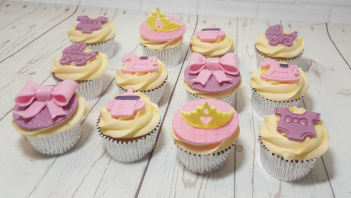Baby shower girl cupcakes - tamworth sutton coldfield