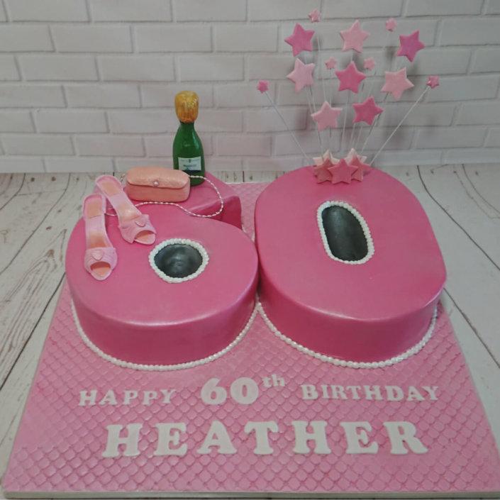 60th birthday cake pink stars shoes handbag champers - tamworth sutton coldfield