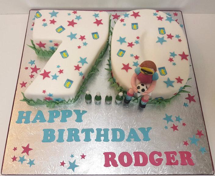 70th birthday cake tamworth avfc colours stars - tamworth sutton coldfield