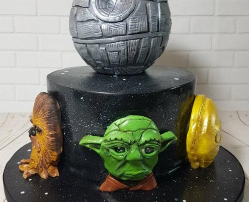 Star wars theme cake 3d head yoda death star - tamworth
