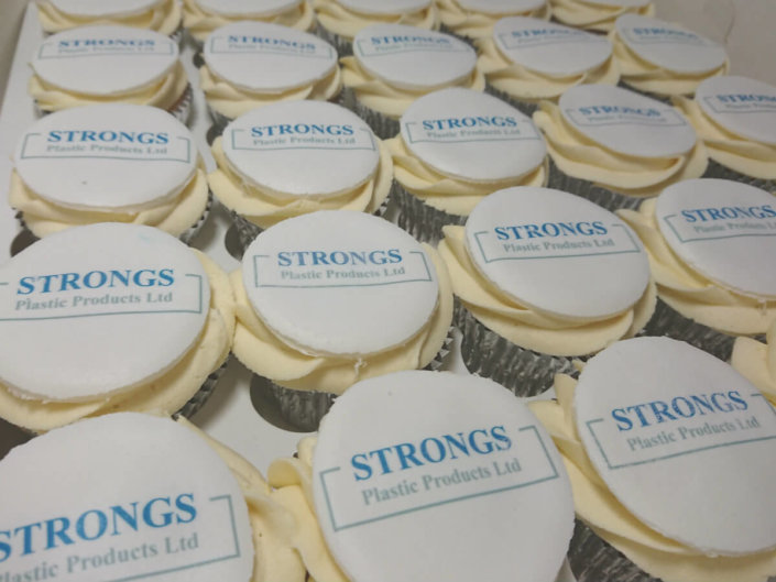 Corporate cupcakes printed toppers - Strongs - Tamworth
